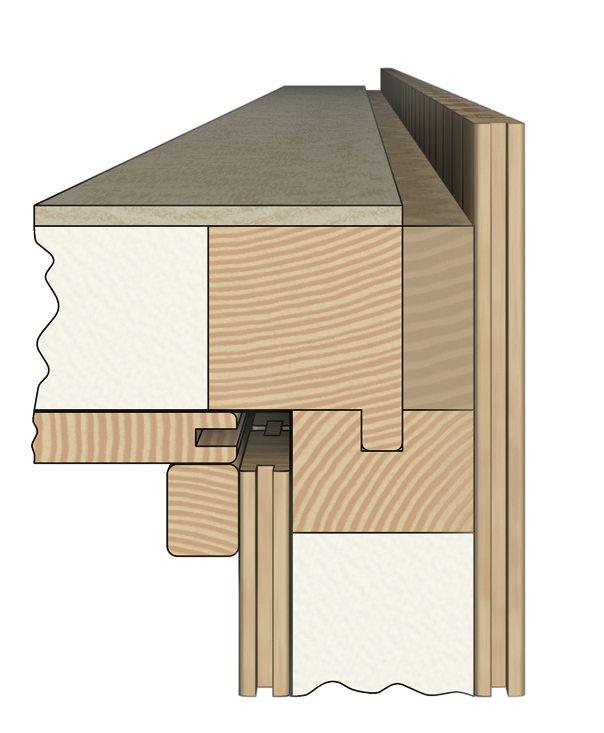 3. Соединение стены с потолком в глубокий шпунт и гребень